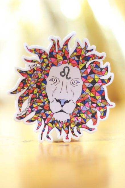 Geometric Leo Zodiac Sticker