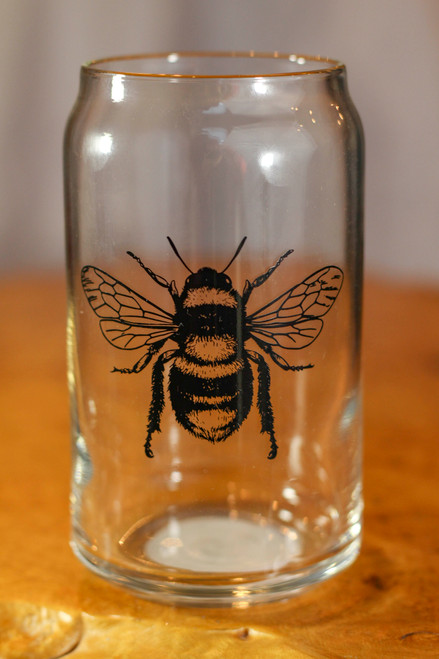 Black Honey Bee Can Pint Glass