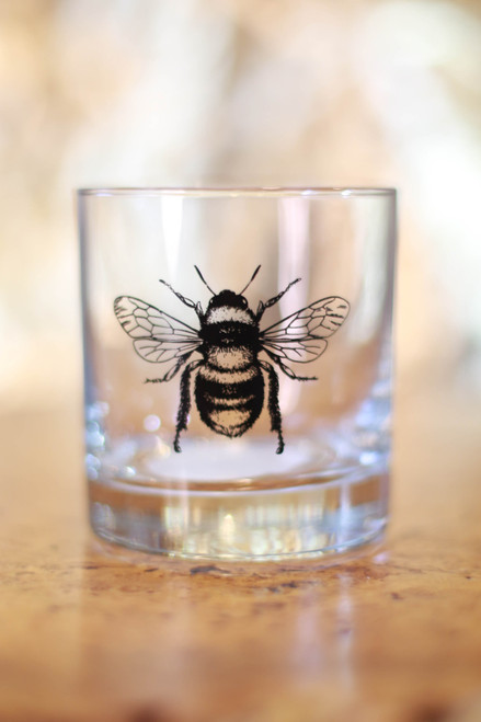 Black Honey Bee Rocks Glass