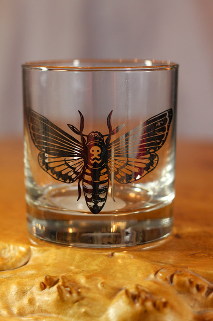 Black Foil Moth Rocks Glass