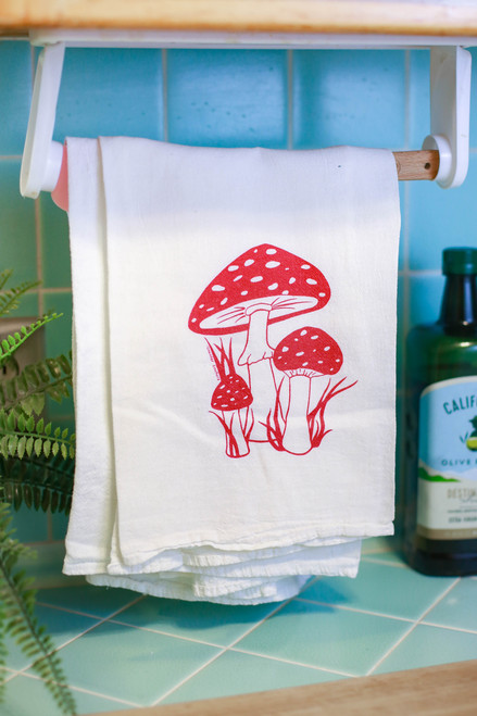 Red Toadstool Flour Sack Tea Towel