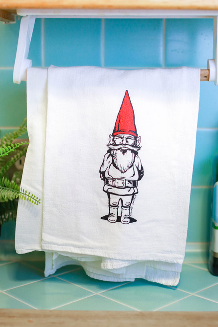 Red Garden Gnome Flour Sack Tea Towel
