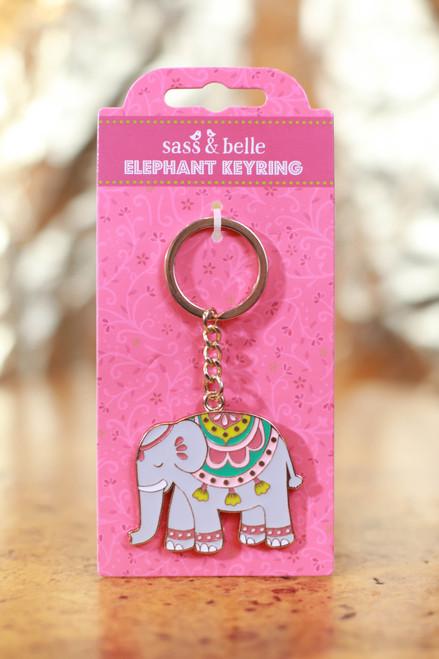 Mandala Elephant Enamel Keyring