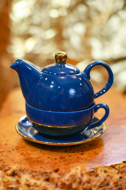 Pinky Up® Addison Dark Blue and Gold Tea Set for One
