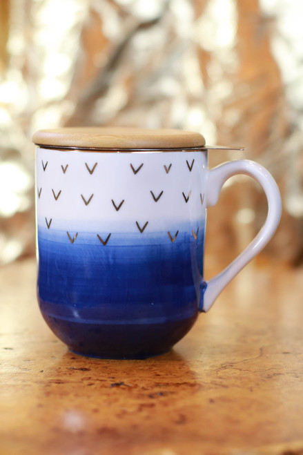 Pinky Up® Casey Blue Ceramic Tea Mug and Infuser