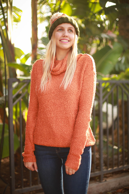 Keep Me Cozy Sunset Soft Turtleneck Sweater front view.