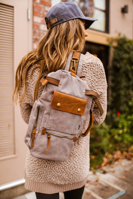 TSD Brand Gray Hill Side Canvas Sling Bag
