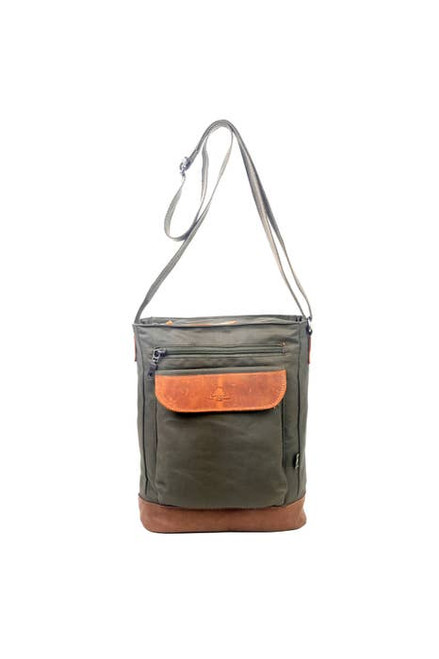 TSD Army Green Urban Light Coated Canvas Crossbody Bag