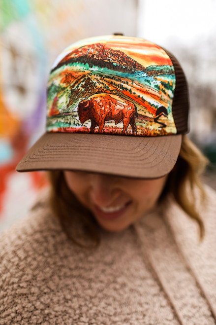 Sunday Afternoons Bison Sunset Trucker Hat