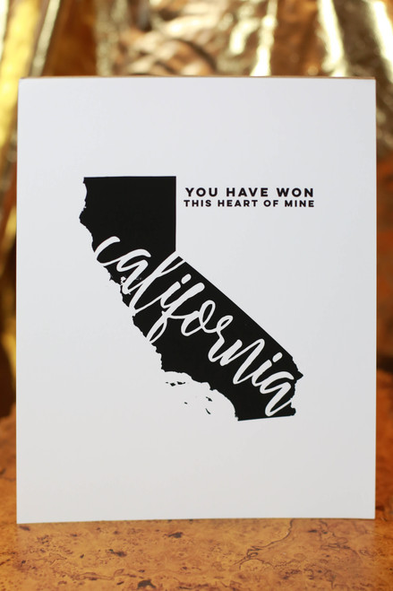 "California You Have Won This Heart of Mine 8"" x 10"" Art Print"