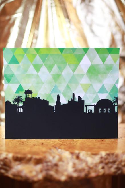 "Green Chico City Skyline 8"" x 10"" Art Print"