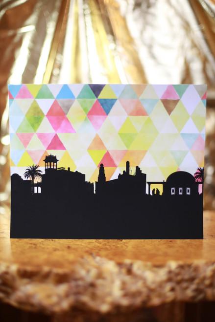"Rainbow Chico City Skyline 8"" x 10"" Art Print"