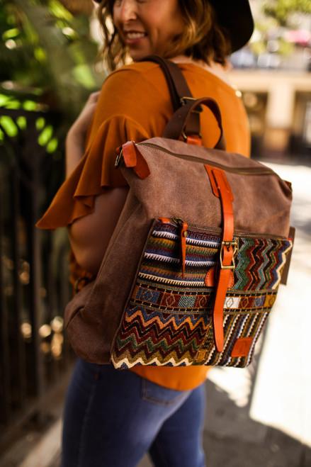 TSD Brand Coffee Boho Convertible Backpack/Crossbody Bag