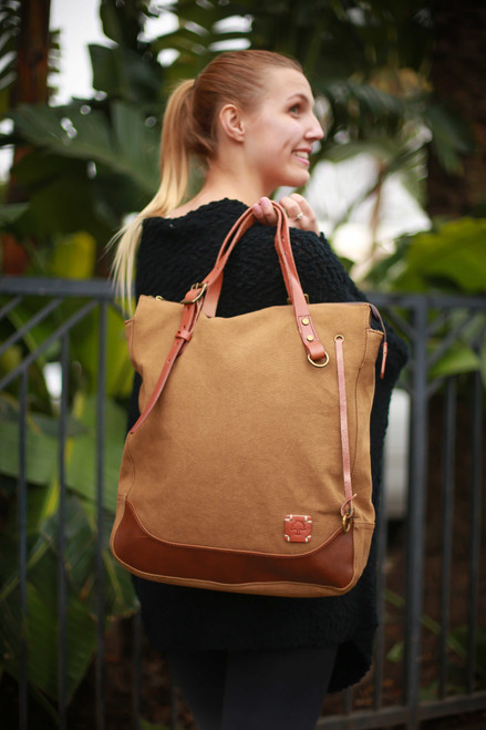 TSD Brand Khaki Redwood Tote Bag