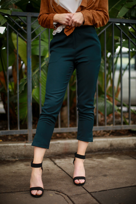 Boss Babe Deep Forest Skinny Leg Trousers with Slit Hem