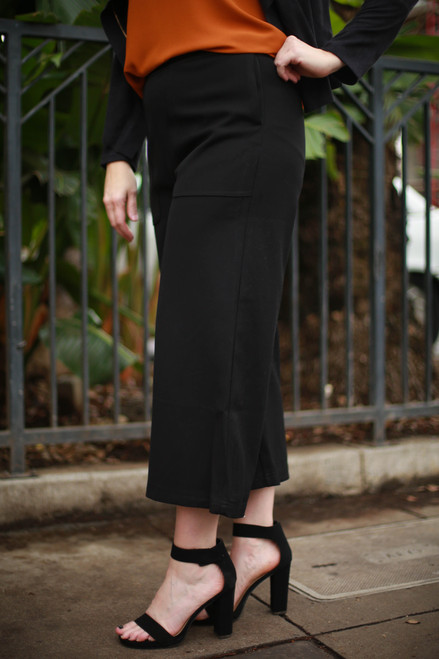 Black in Business Cropped Wide Leg Pants