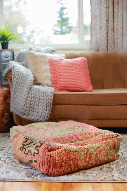 Pink Moroccan Rug Floor Pouf