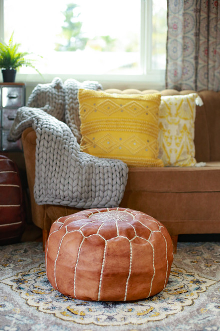 Tan Round Moroccan Leather Pouf