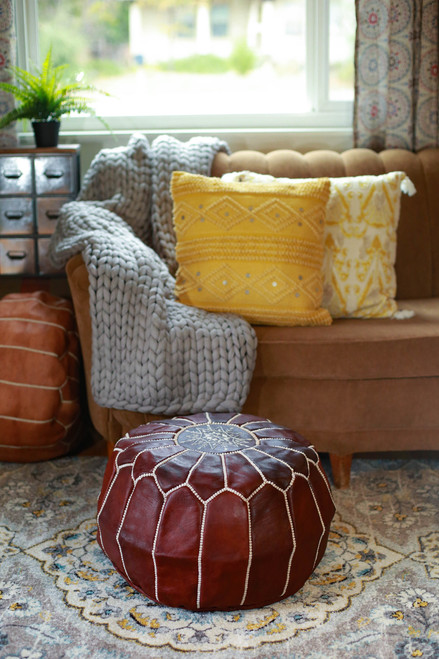 Chestnut Round Moroccan Leather Pouf
