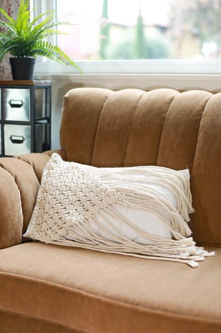 Rectangular Triangle Fringe Macrame Pillow