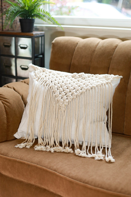 Square Triangle Fringe Macrame Pillow