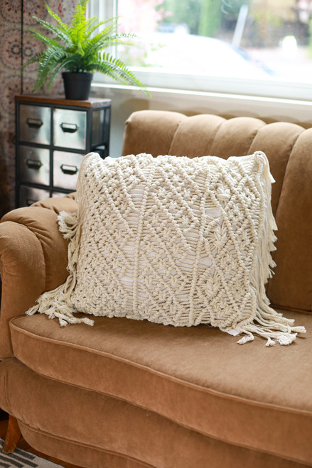 Square Diamond Macrame Pillow