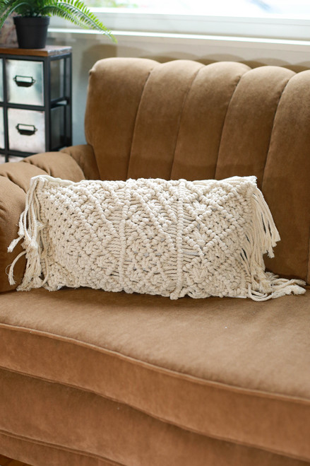 Rectangular Diamond Macrame Pillow