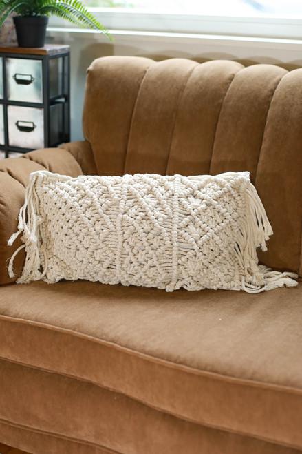 Rectangular Diamond Macrame Pillow