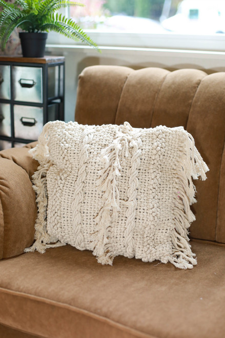 Square Striped Fringe Macrame Pillow