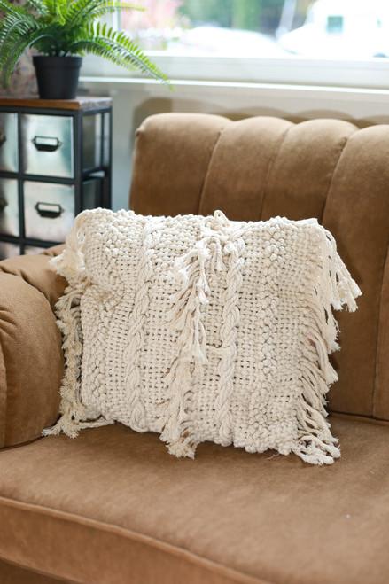 Square Striped Fringe Macrame Pillow