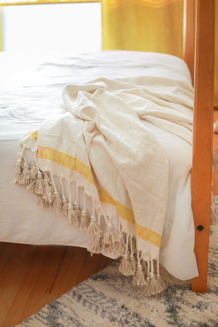 Yellow and Ivory West Hand Woven Throw