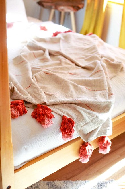 Coral and Jute Gabi Hand Woven Throw