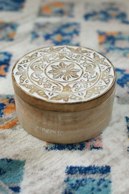 Small Circular Carved Wood Box