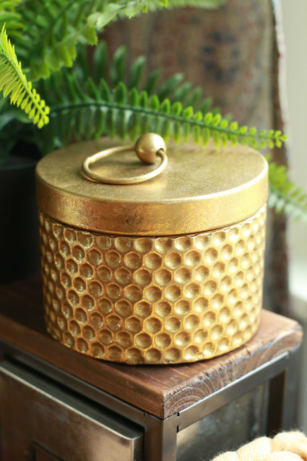 Gold Hammered Trinket Box