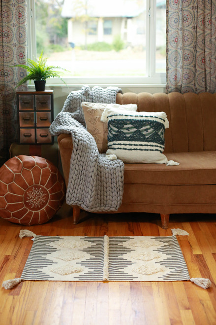 Dark Gray and Ivory Mod Tribal Rug