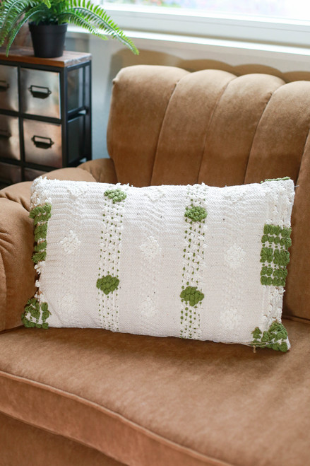 Olive and Ivory Banak Hand Woven Pillow