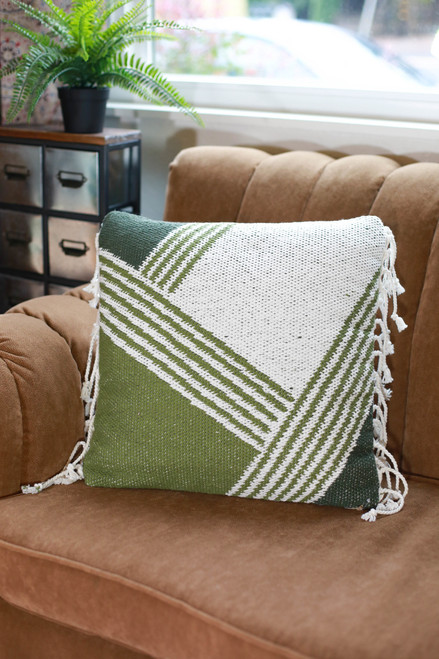 Olive and Ivory Luana Hand Woven Pillow