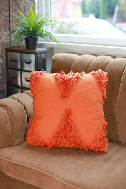 Orange Rocco Fringe Hand Woven Pillow