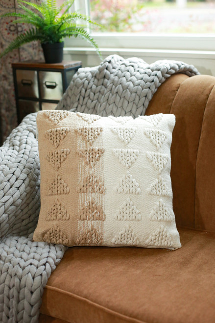 Tan and Ivory Naia Hand Woven Pillow