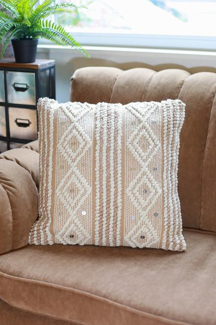 Beige Raine Hand Woven Pillow