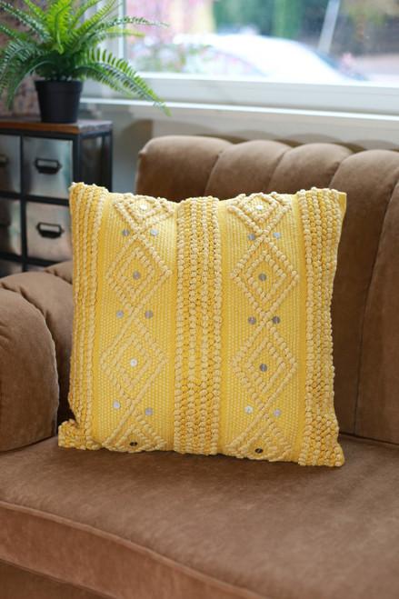 Mustard Raine Hand Woven Pillow