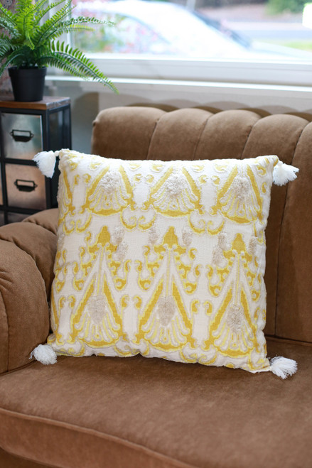 Yellow and Ivory Merrigan Hand Woven Pillow