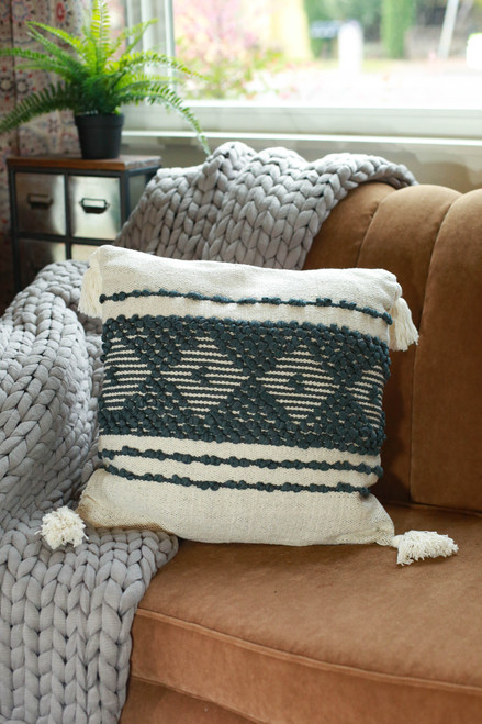 Navy and White Tucson Hand Woven Pillow
