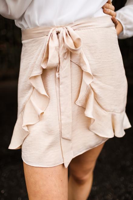 Just Stay Sand Ruffle Layered Mini Skirt