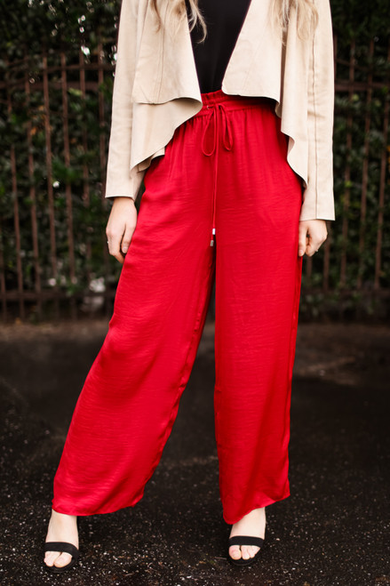 Crimson Class Flowing Wide Leg Pants front view.
