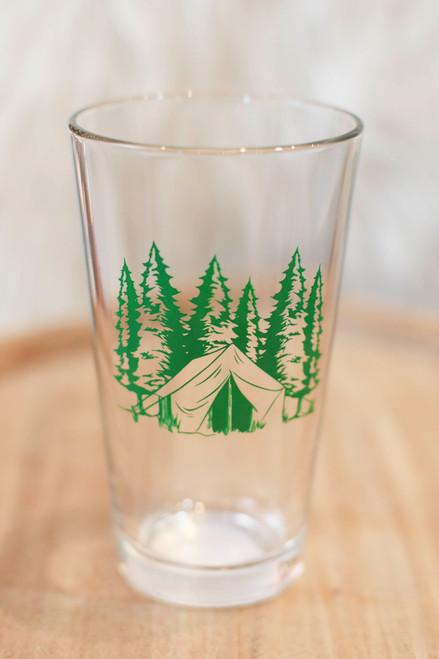 Green Camping Pint Glass
