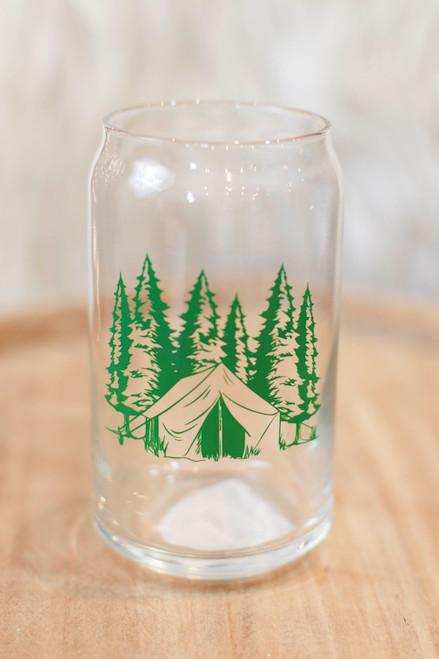 Green Camping Can Pint Glass