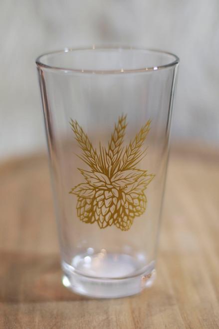 Gold Hops Pint Glass