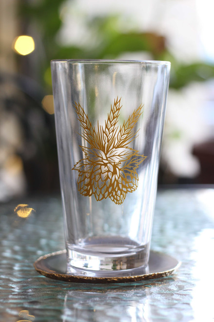 Gold Hops Pint Glass