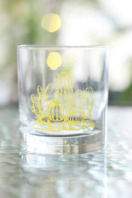 Yellow Cactus Rocks Glass
